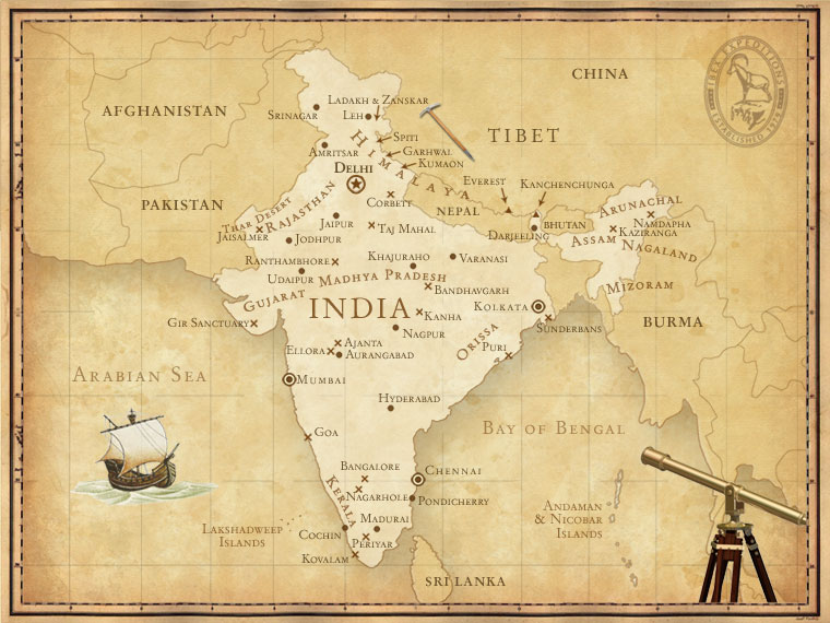 India Map | Ibex Expeditions - Adventure Holidays India