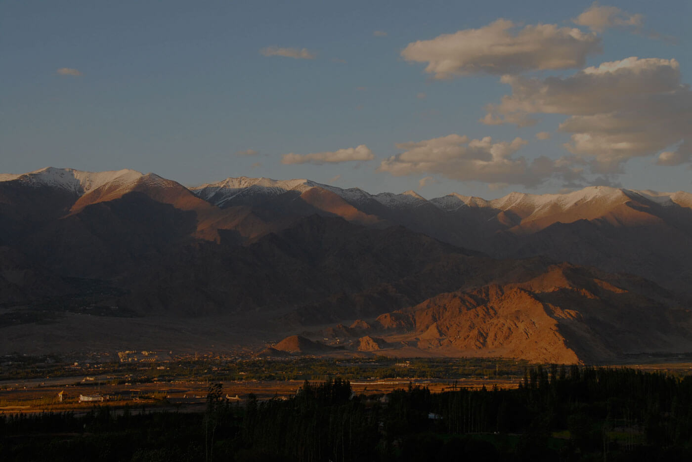 Sunset over the town of Leh, the capital of Ladakh, 1 hour flight from New Delhi